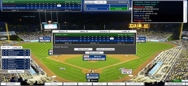 A screenshot of the final out in USA TODAY Sports' Simulated World Series as the Red Sox's J.D. Martinez grounds out to end a 5-0 Dodger win.