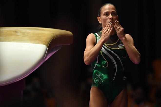 Uzbekistan's Oksana Chusovitina participating in the women's vault final of the artistic gymnastics event during the 2018 Asian Games in Jakarta.