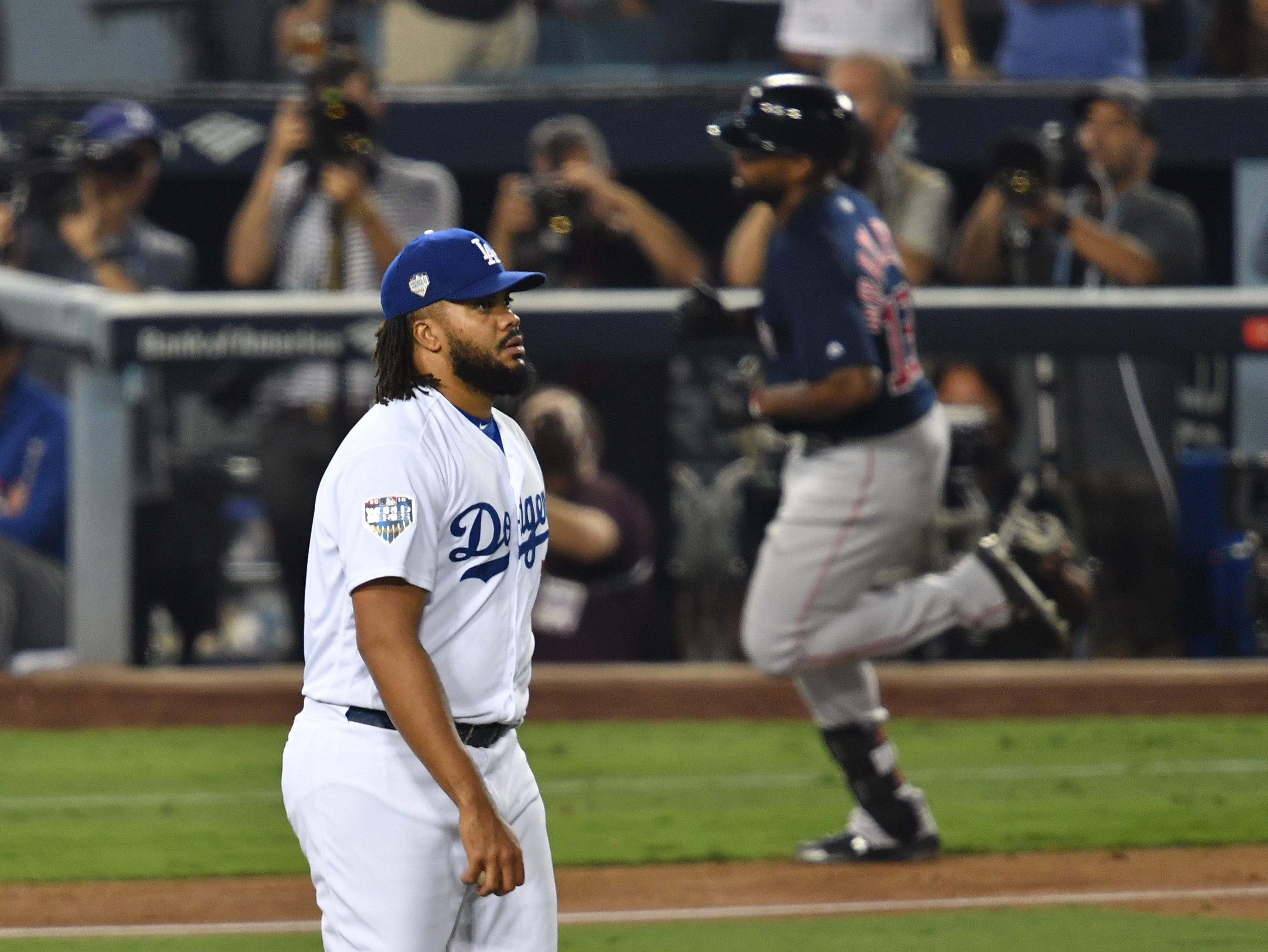 Game 3 at Dodger Stadium: Dodgers pitcher Kenley Jansen reacts after giving up a solo home run to Jackie Bradley Jr. in the eighth.