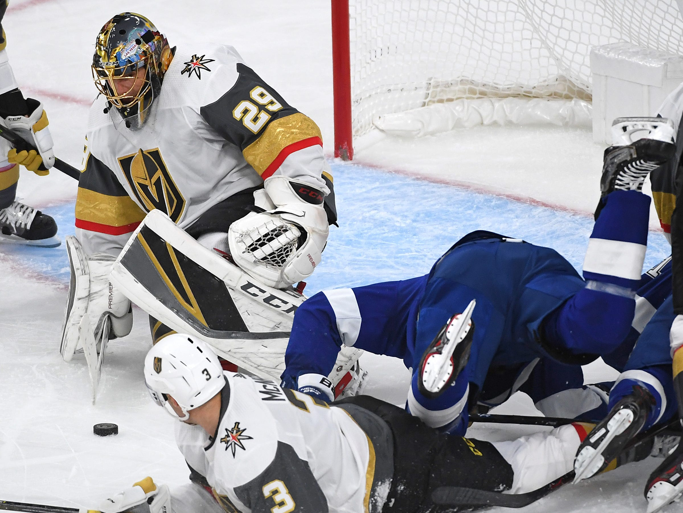 Oct. 26: Vegas Golden Knights goaltender Marc-Andre Fleury (29) makes a first-period save against the Tampa Bay Lightning at T-Mobile Arena.