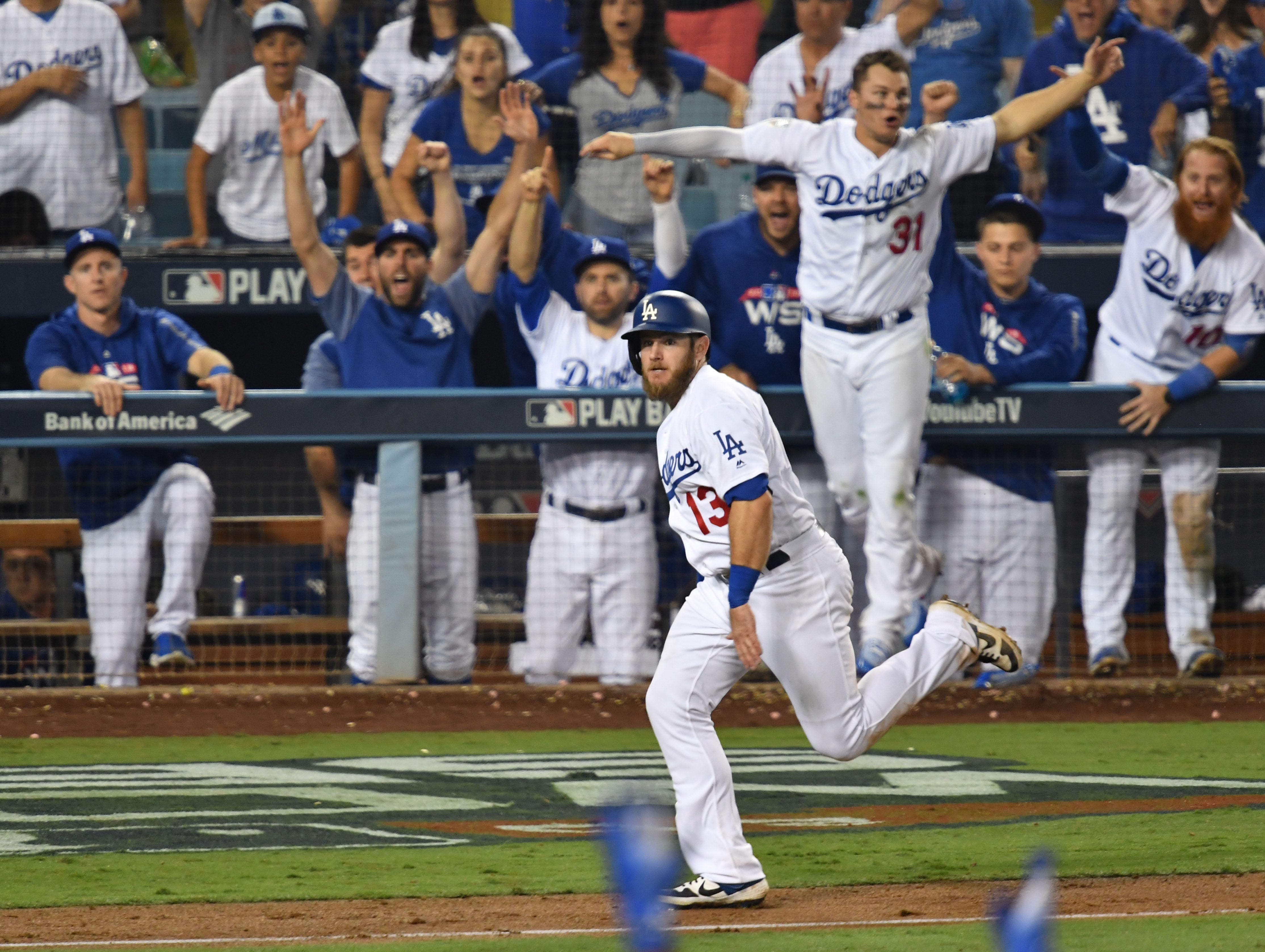 Game 3 at Dodger Stadium: Max Muncy scores the tying run in the bottom of the 13th.