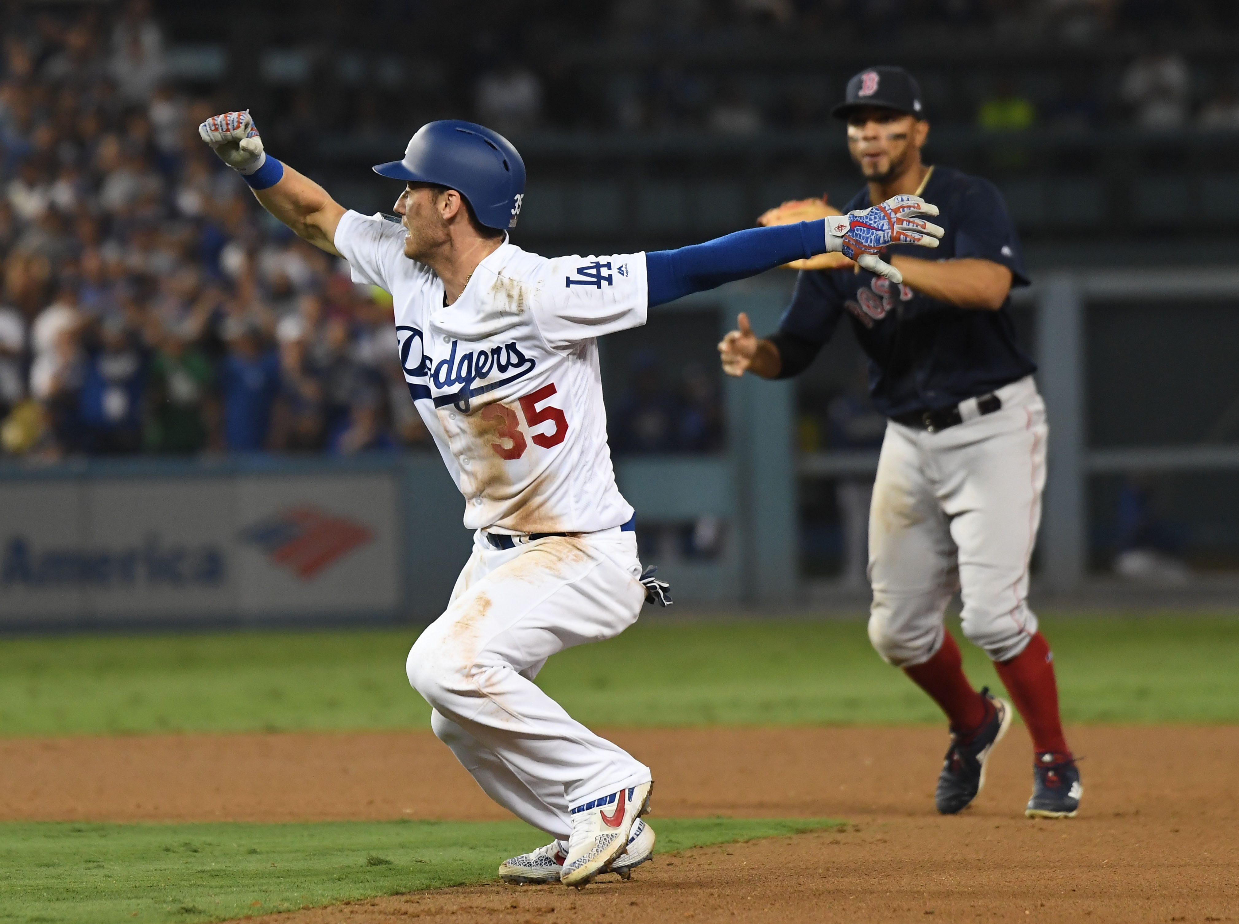 Game 3 at Dodger Stadium: Cody Bellinger gets caught in a rundown in the ninth inning.