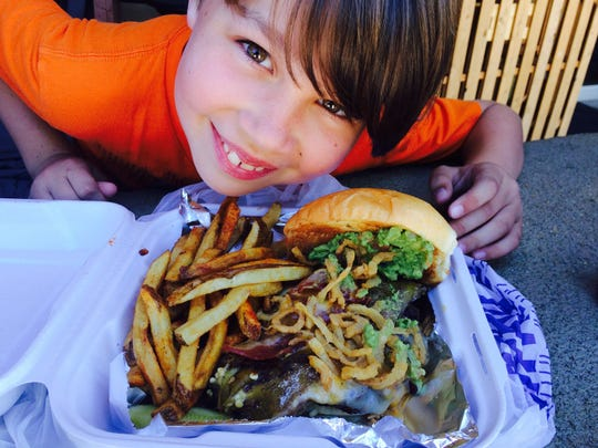 Iden Elliott on the last stop of our burger tour of Santa Fe, New Mexico.