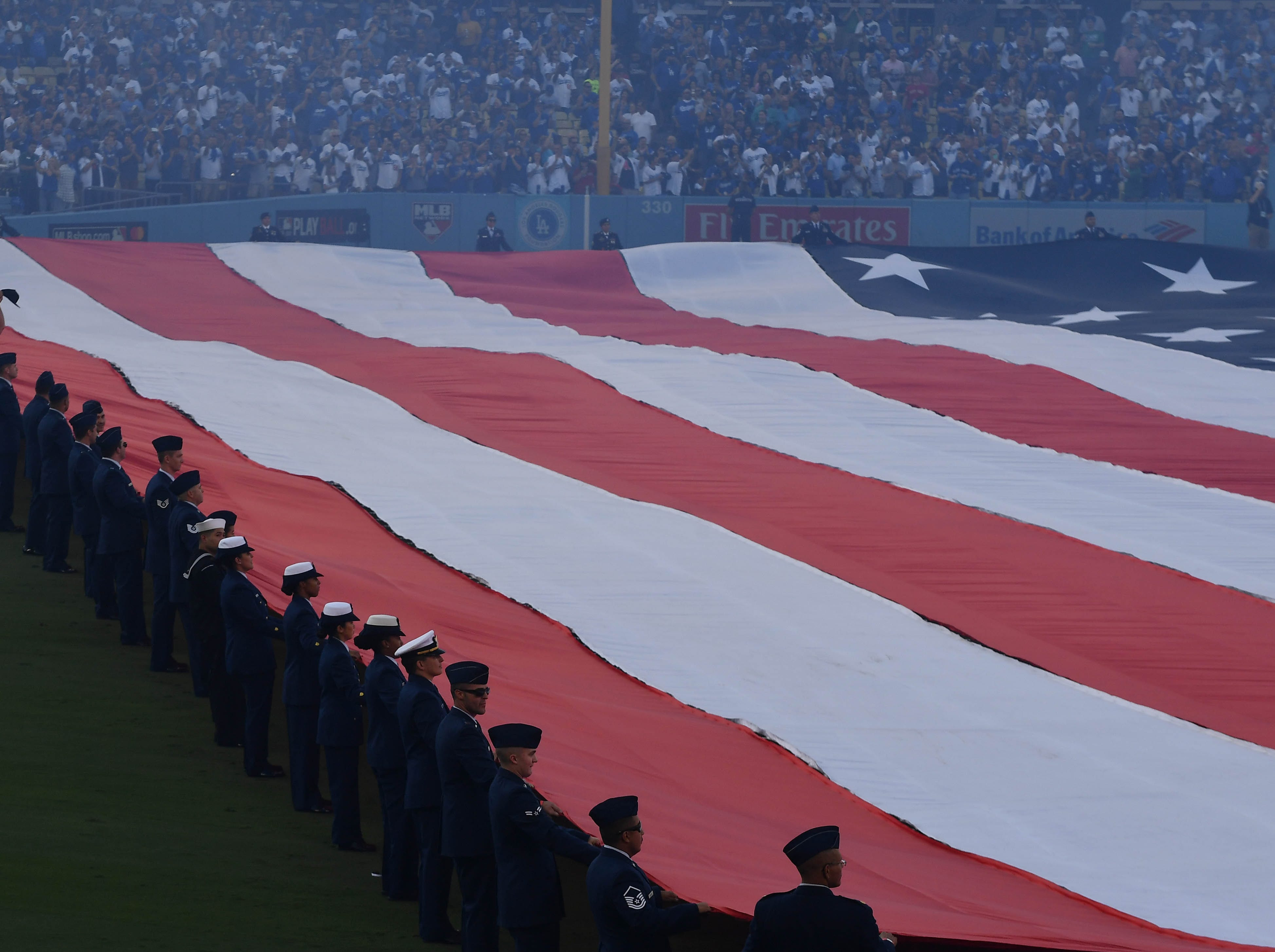 Game 3 at Dodgers Stadium: A view during the national anthem.