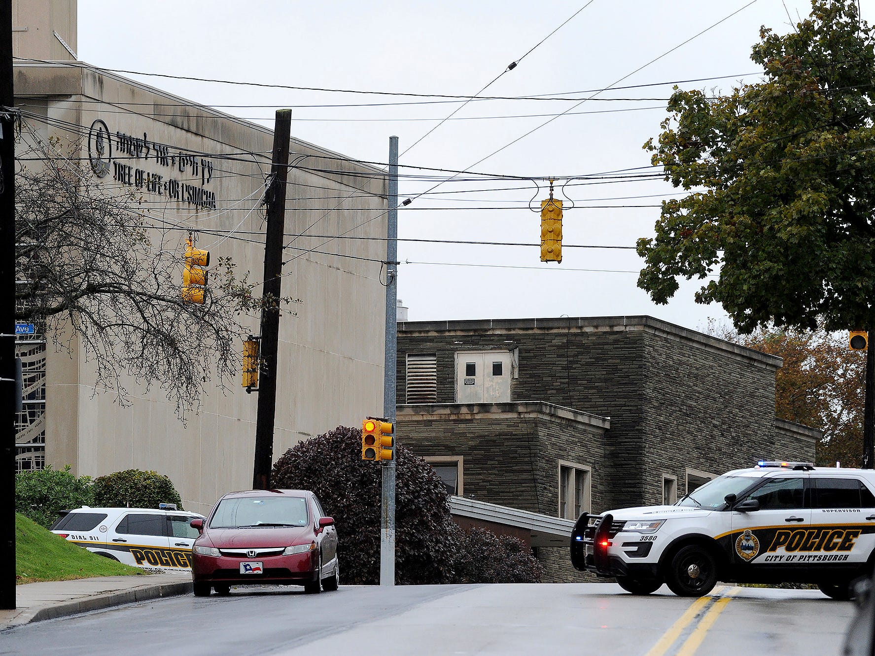 Police respond to an active shooter situation at the Tree of Life synagogue on Wildins Avenue in the Squirrel Hill neighborhood of Pittsburgh, Pa. on  Oct. 27, 2018.