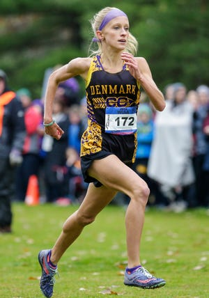Leah Kralovetz of Denmark High School runs in the WIAA division 2 girls race Saturday, Oct. 27, 2018, at Ridges Golf Course in Wisconsin Rapids, Wisconsin. Kralovetz finished first with a time of 17 minutes and 46.7 seconds.