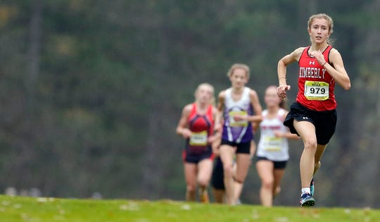 Brooke Edwardson of Kimberly nears the finish during the Division 1 state cross country meet Saturday.