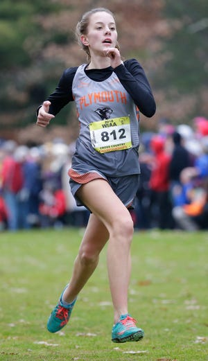 Olivia Rabe of Plymouth runs in the WIAA Division 2 girls state cross country meet Saturday in Wisconsin Rapids.