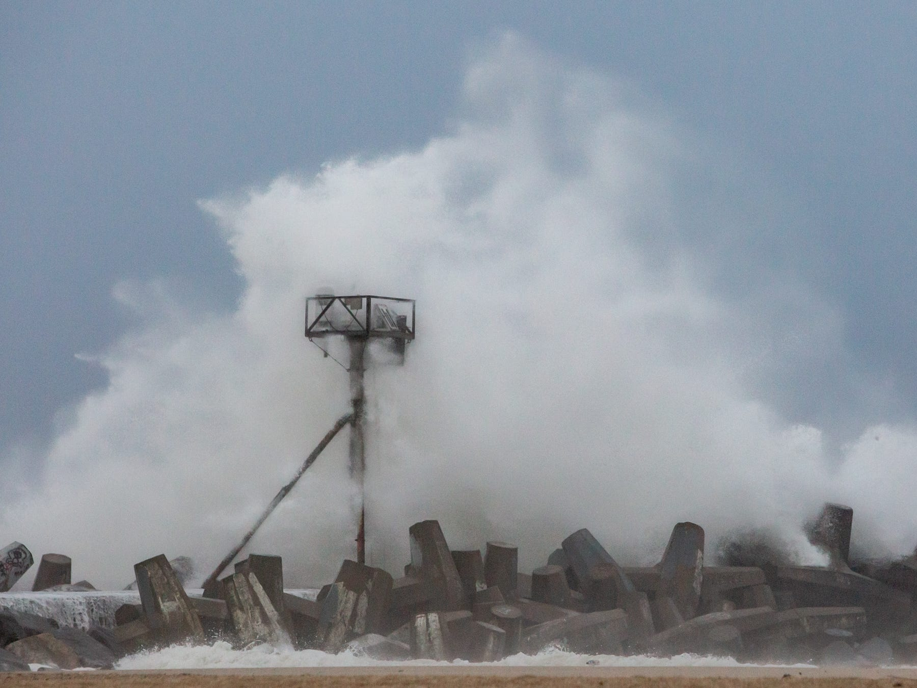 Point Pleasant Beach, NJ Waves from a passing nor'easter pound the south jetty of the Manasquan inlet. 102718