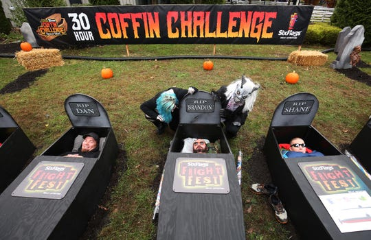 Contestants settle in for the Six Flags 30-hour coffin challenge. Jackson, New Jersey. Sunday, October 28, 2018. David Gard /Correspondent