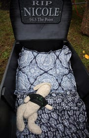 Nicole Murray's coffin contains her childhood stuffed bunny. Murray is a DJ for 94.3 The Point and joined the six finalists for the Six Flags 30-hour coffin challenge.  Jackson, New Jersey. Sunday, October 28, 2018.