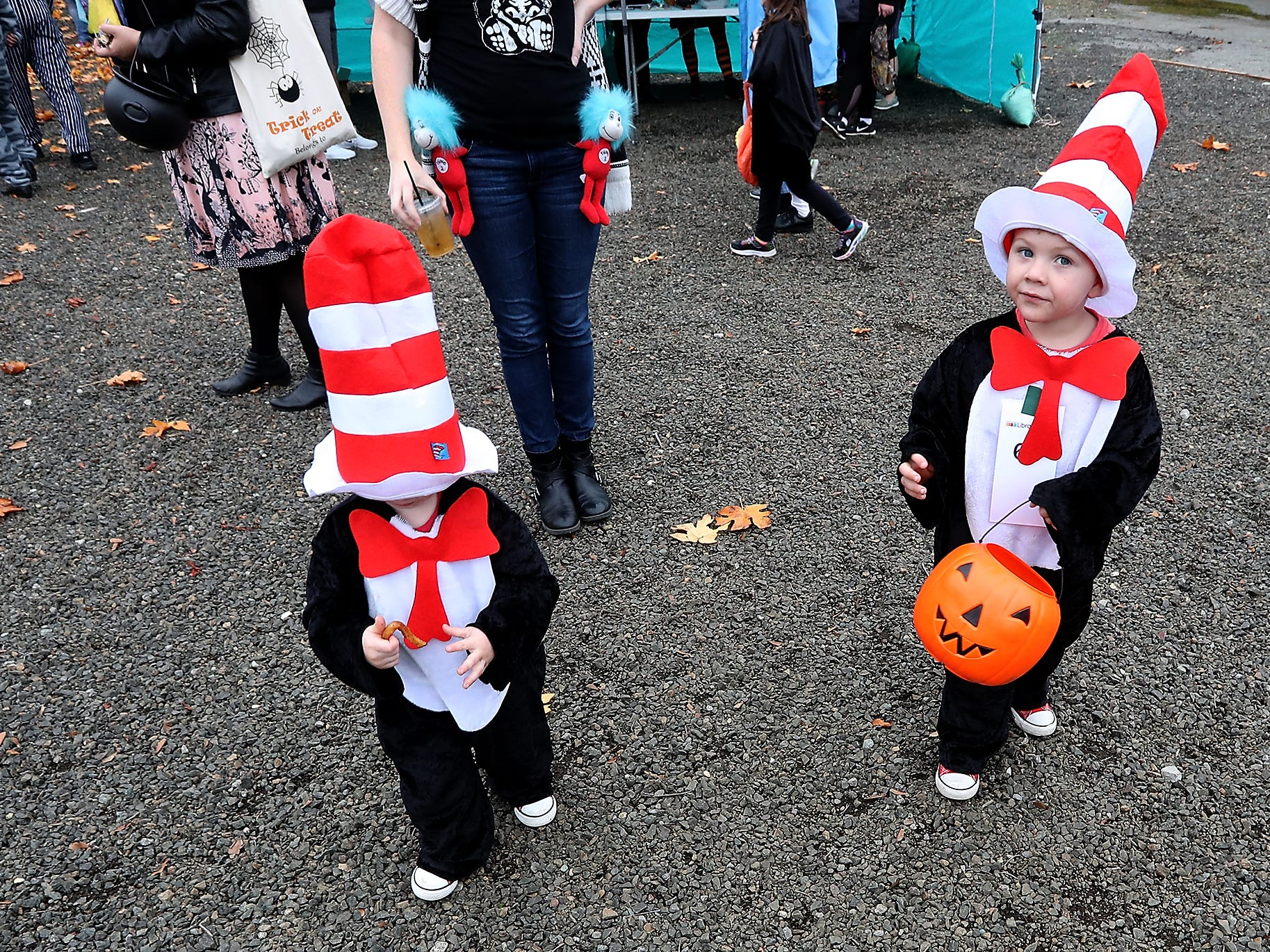 Brothers Weyland and Wyatt Cook donned Cat in the Hat costumes for the Halloween Spookfest in downtown Port Orchard on Saturday, October 27, 2018.