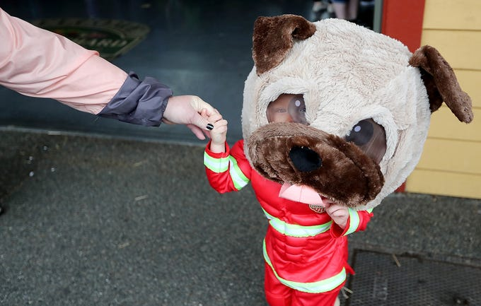 With his face barely visible in one eye of the giant dog mask, Hank James, 3, holds his grandmother Vickie Starr's hand while taking part in Halloween Spookfest in downtown Port Orchard on Saturday, October 27, 2018. Hank was dressed as a firefighter but wanted to wear a giant dog head that a family member was wearing instead of his firefighter's helmet for awhile.