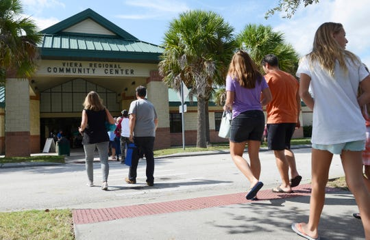 Brevardians head to the polls at Viera Regional Park on the first day of early voting in the county