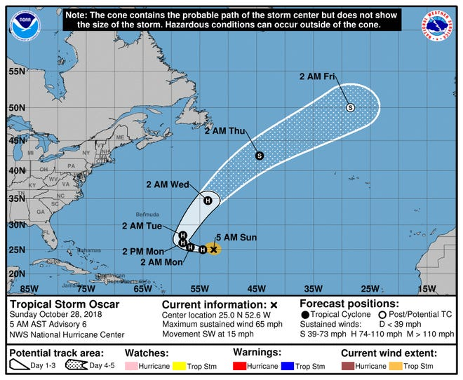 A graphic from the National Hurricane Center shows the position and forecast track of Tropical Storm Oscar on Sunday, Oct. 28