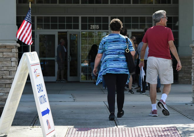 Voters head to the Wickham Park Community Center to take advantage of early voting. The polls opened Saturday for the upcoming mid-term election