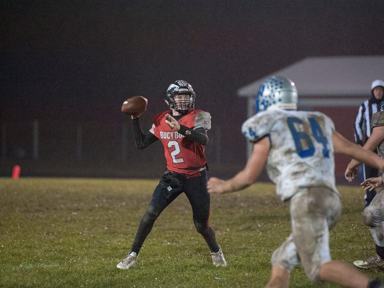 Bucyrus' Ben Seibert drops back for a pass.