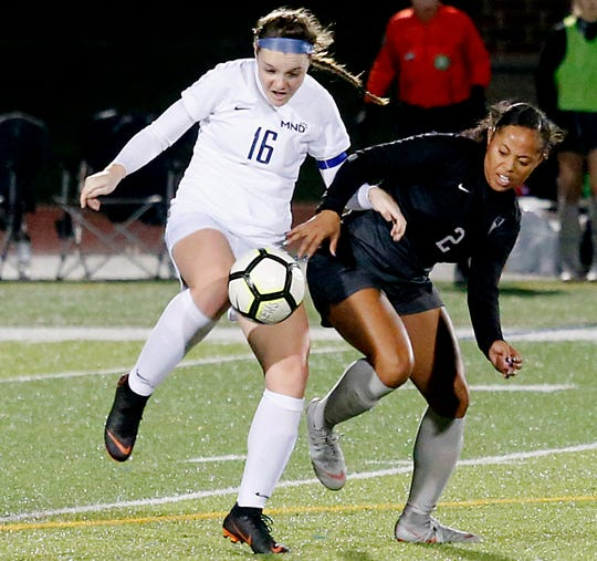 Mount Notre Dame defender Kristen Devolve and Lakota East forward Kayla Womack battle for possession during their Division I Southwest district final soccer game at Walnut Hills in Cincinnati Saturday, Oct. 27, 2018.
