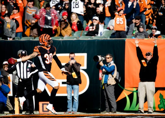 Cincinnati Bengals free safety Jessie Bates (30) scores a touchdown on an interception during a Week 8 NFL game between the Cincinnati Bengals and the Tampa Bay Buccaneers, Sunday, Oct. 28, 2018, at Paul Brown Stadium in Cincinnati.
