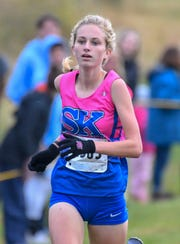 Sophia DeLisio of Simon Kenton wins the Class 3A Girls KHSAA Regional Cross Country Championship, Sherman Elementary School, Grant County, KY, Saturday Oct. 27, 2018