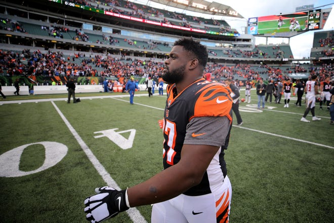 Cincinnati Bengals defensive tackle Geno Atkins (97) walks off the field after a NFL football game between the Tampa Bay Buccaneer and the Cincinnati Bengals, Sunday, Oct. 28, 2018, at Paul Brown Stadium in Cincinnati. Cincinnati Bengals won 37-34.