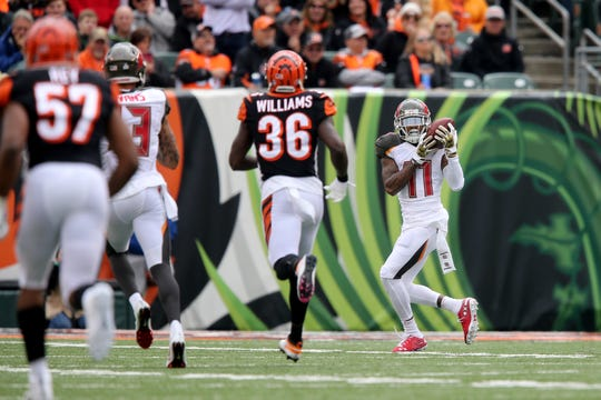 Tampa Bay Buccaneers wide receiver DeSean Jackson (11) gets behind the Cincinnati Bengals defense and scores a touchdown in the second quarter during a NFL football game between the Tampa Bay Buccaneer and the Cincinnati Bengals, Sunday, Oct. 28, 2018, at Paul Brown Stadium in Cincinnati.