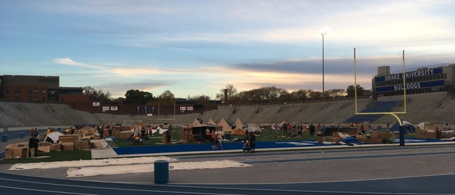 The 13th annual IHYC Reggie's Sleepout  Des Moines was held this weekend at Drake Stadium.