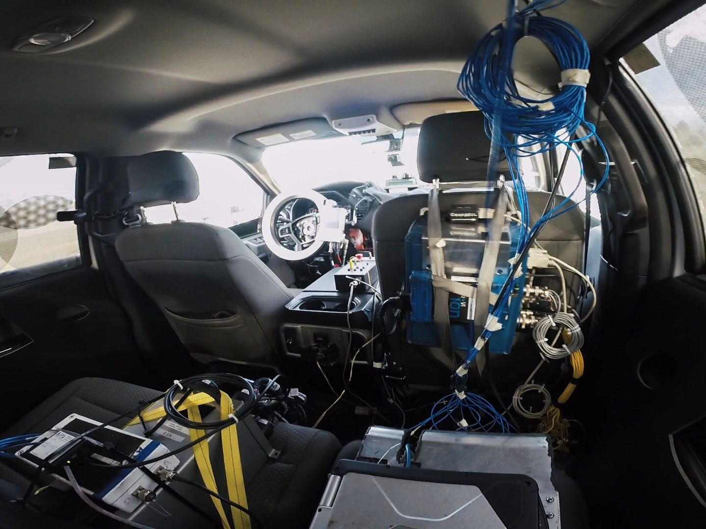 Ford uses robots to save time and spare human drivers from physical abuse by accelerating high-impact on-road and off-road durability testing at its Michigan Proving Grounds in Romeo, seen here in November, 2015.