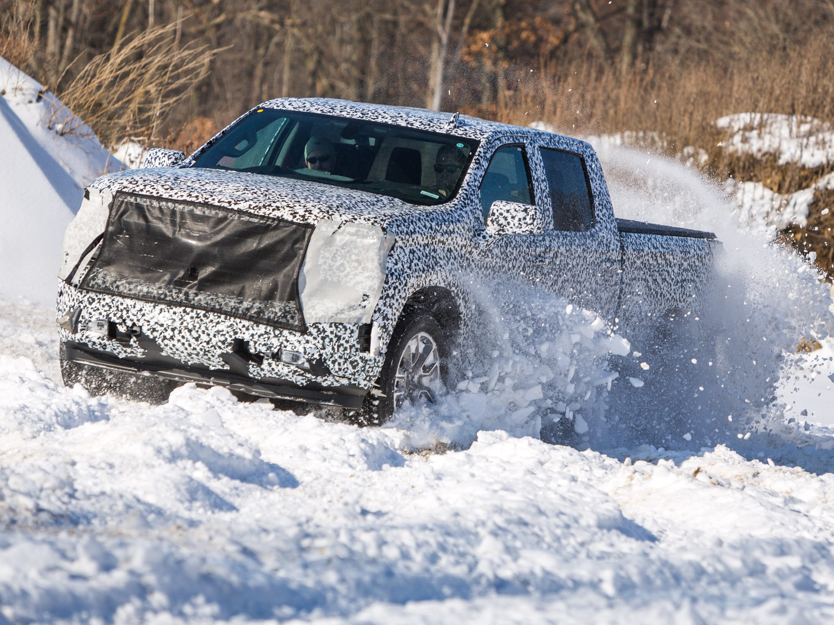 The next-generation Chevrolet Silverado undergoes testing Tuesday, January 9, 2018 at the General Motors Milford Proving Ground in Milford, Michigan.