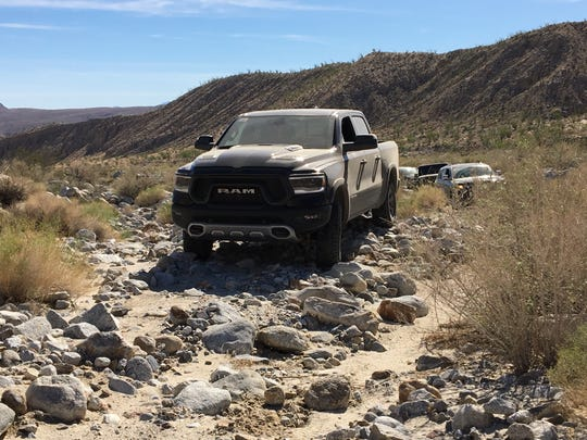 2019 Ram 1500 Rebel on rock bed in Anza Borrego Desert, CA.