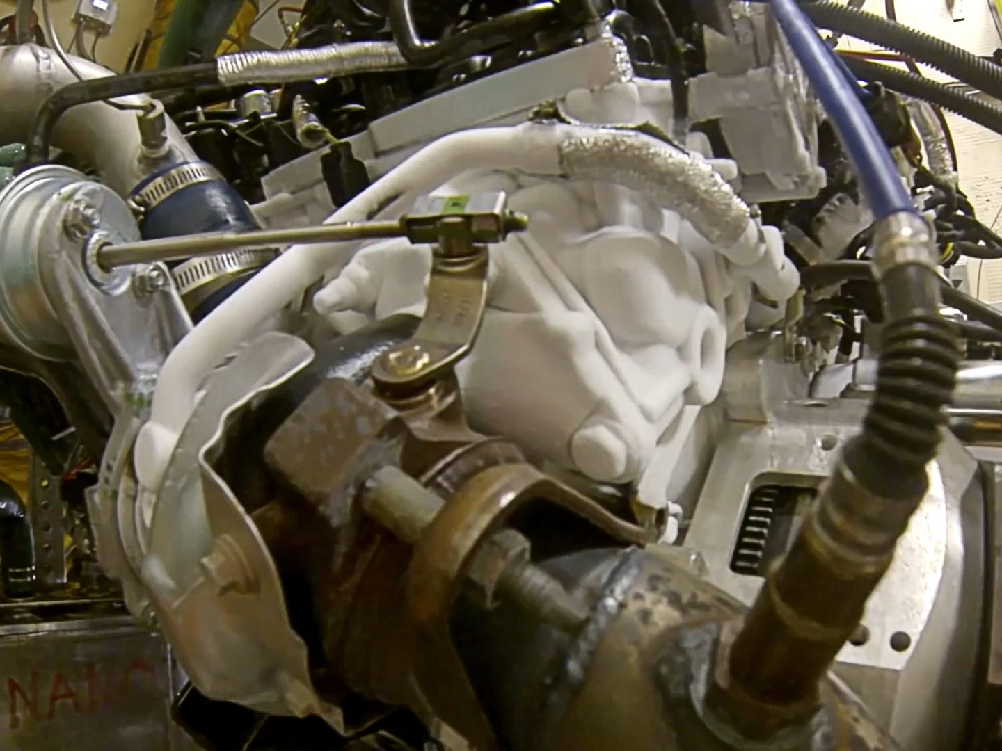 F-150 engines are first placed in a special cell and hooked to equipment, called a dynamometer, which simulates pulling a heavy trailer at full throttle up a steep grade. Next, thermal shock testing takes engines from the coldest polar vortex to extreme heat in just seconds. The engine coolant and oil are quick-cooled to minus 20 degrees in as little as 20 seconds, then the engine runs at maximum power while coolant and oil temperatures stabilize, first at 230 degrees and then at 270 degrees, before being chilled again. This process is run 350 times over more than 400 hours to prove the durability of the engine block, seals, gaskets, cylinder heads and liners.