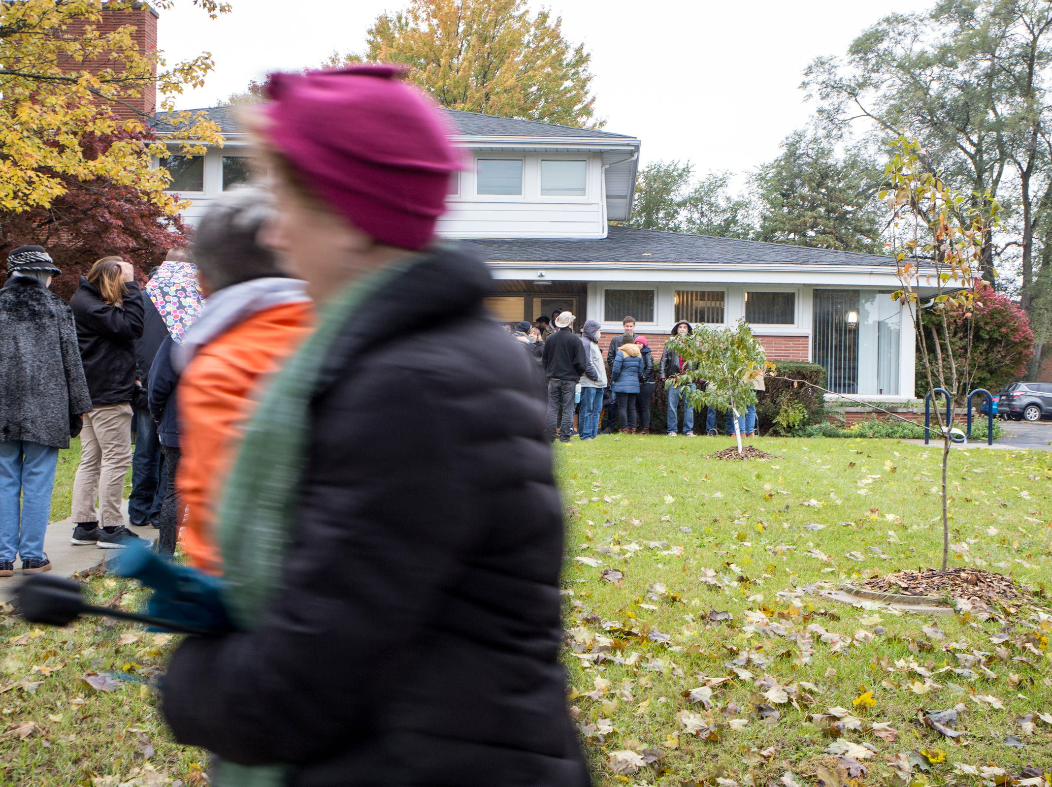 Mourners gather at Jewish Ferndale for a vigil, in honor of 11 people who were killed during a mass shooting in Pittsburgh, at Jewish Ferndale in Ferndale, Mich., Sunday, Oct. 28, 2018.