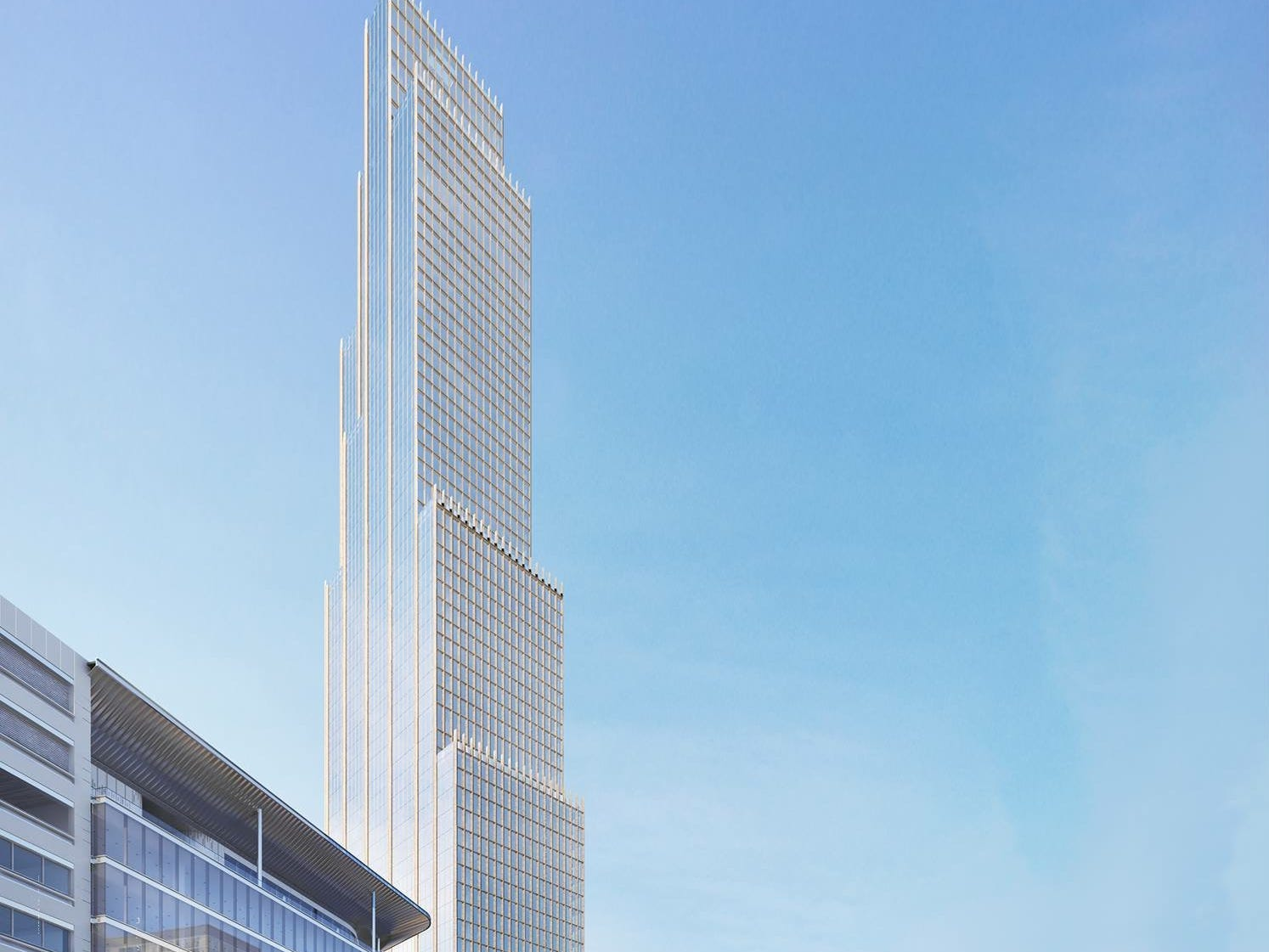 Bedrock released the new renderings Sunday, which include a stepped tower rising to a height of 912 feet.