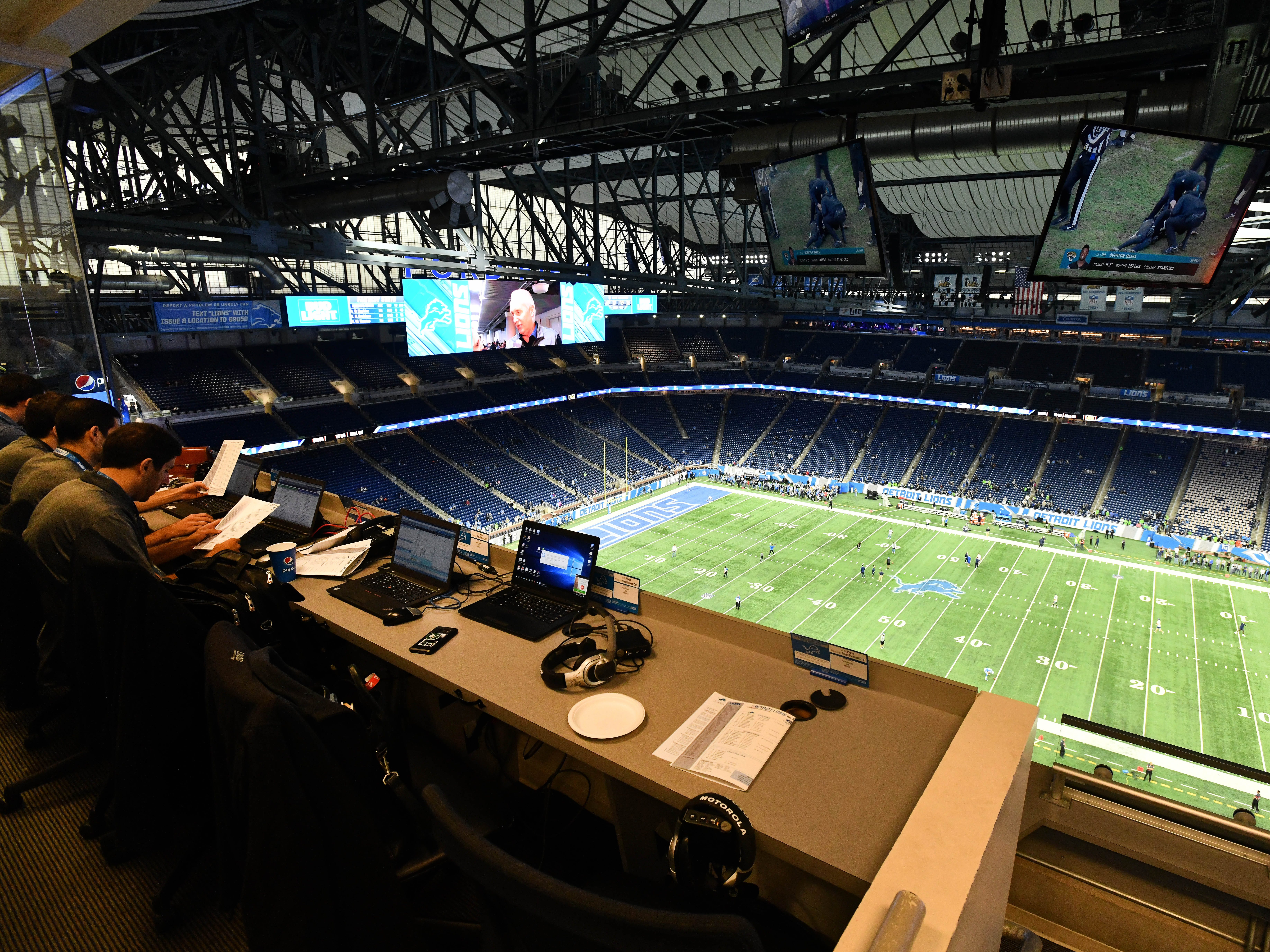 This is a view of Ford Field from the press box.
