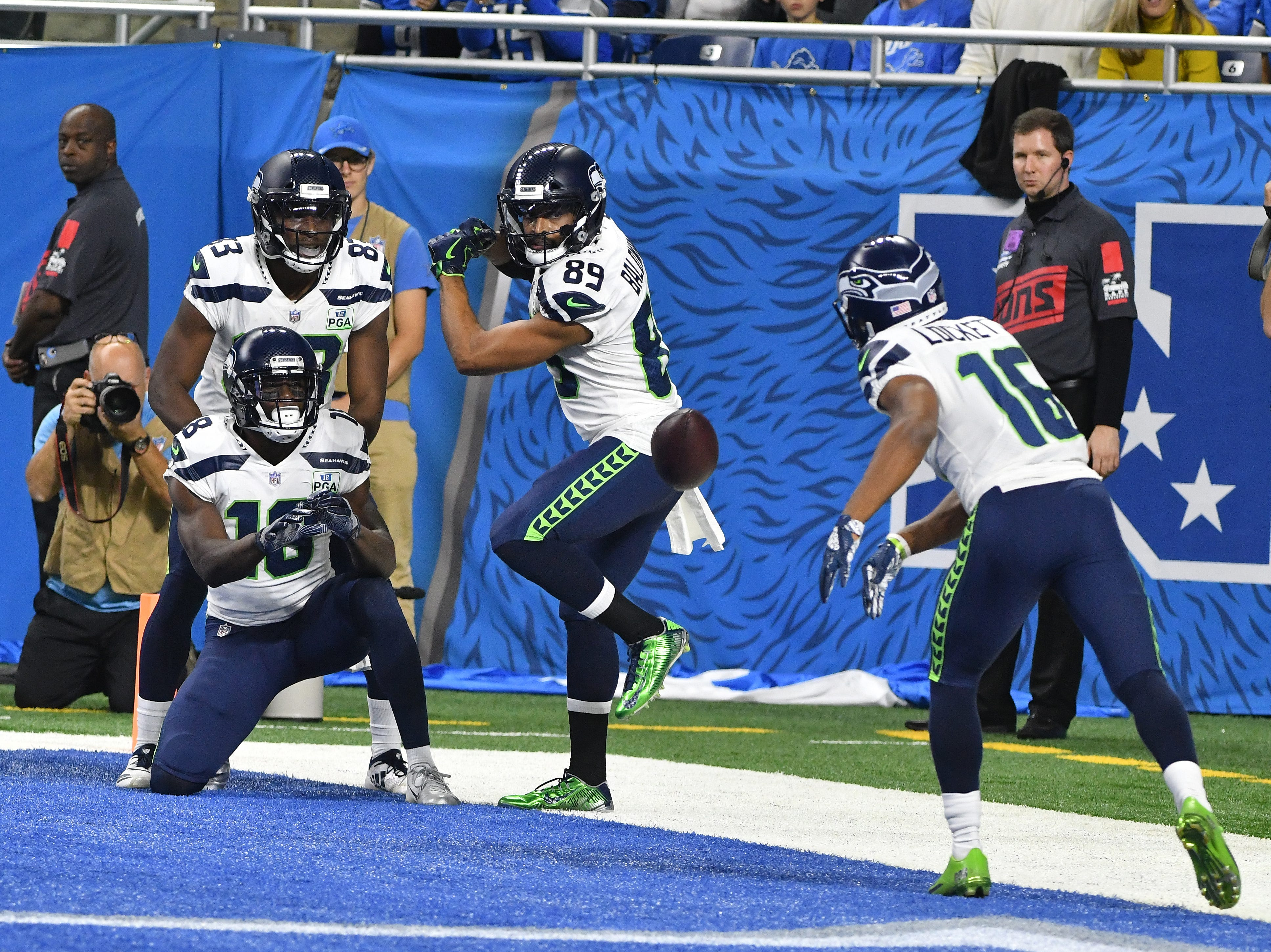 After Seahawks' Tyler Lockett's touchdown, Seattle's celebration was a tribute to the sport of baseball with Lockett pitching, hitting the batter, Doug Baldwin, with the football, who then charged the pitcher with Lockett taking him down with one punch.