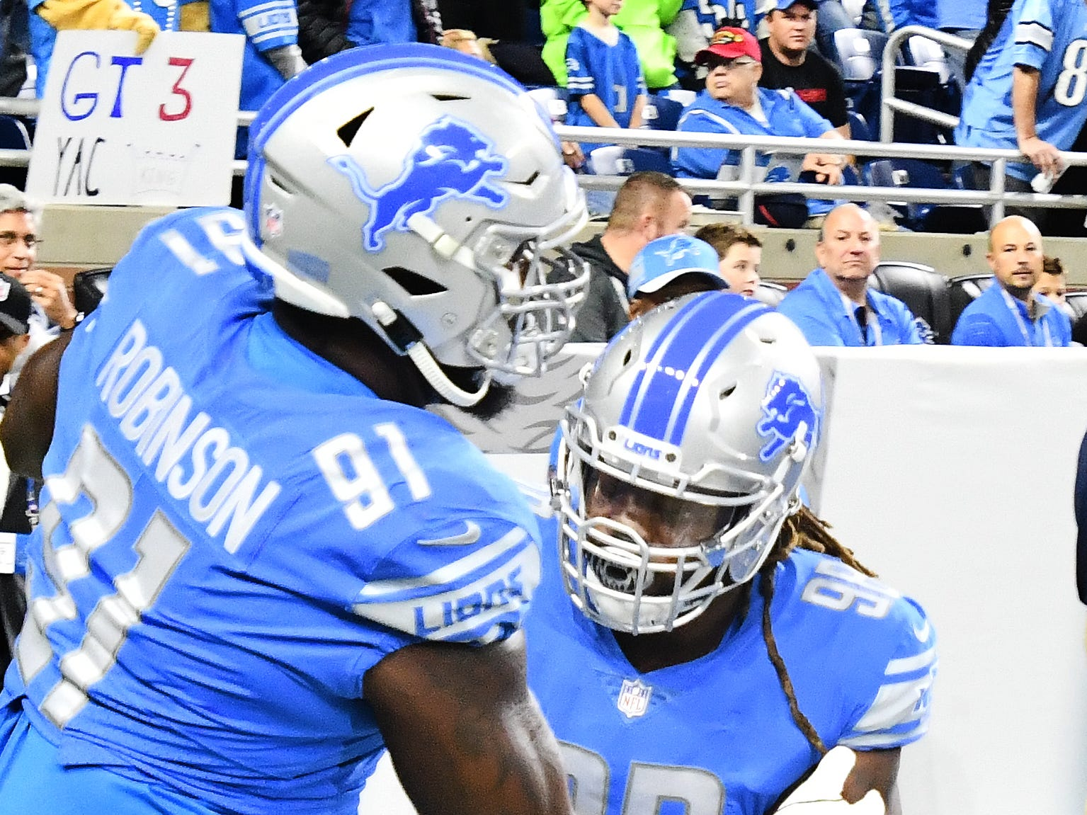 Detroit Lions new defensive lineman Damon Harrison Sr. warms up before his first game as the Lions host the Seattle Seahawks at Ford Field, Sunday afternoon, October 28, 2018.