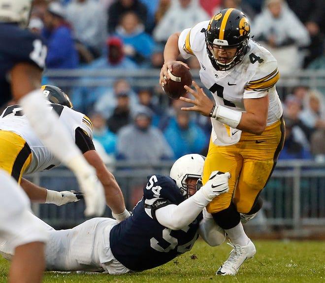 Penn State's Robert Windsor sacks Iowa quarterback Nate Stanley.