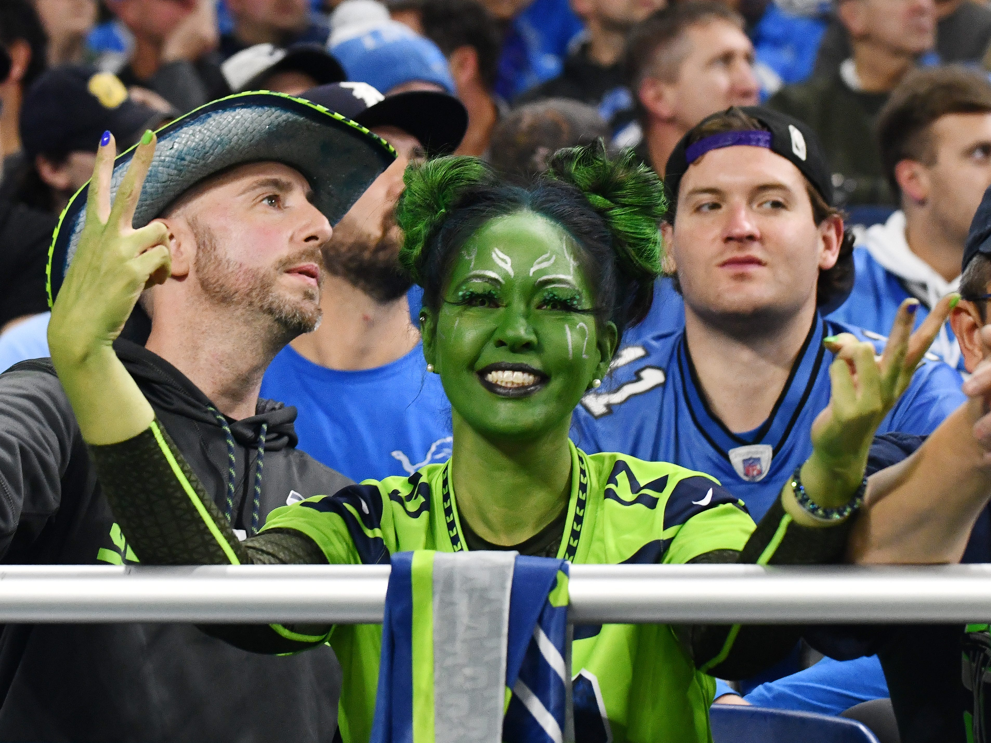 A Seattle Seahawks fan shows her love for the team during the 28-14 victory over Detroit.