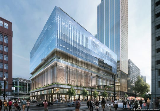 New rendering of the 14-story, 232-foot-tall building scheduled for the Woodward Avenue site.