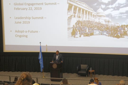 "Ralph ""RJ"" Johnson, national vice chair for United Nations Association of the United States of America Youth Advisory Council, discusses human rights as the summit's opening keynote speaker."