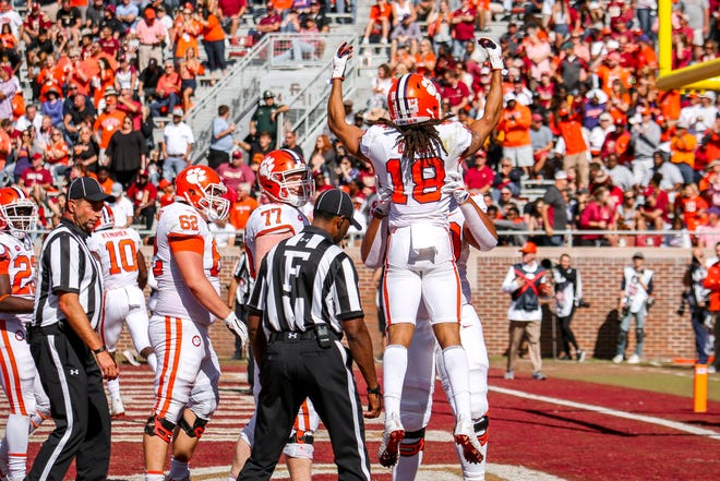 T.J. Chase (18) and the Clemson Tigers steamrolled the Seminoles 59-10 on Saturday, October 27th.