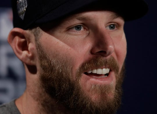 Boston Red Sox's Chris Sale answers questions for the World Series baseball game Monday, Oct. 22, 2018, in Boston. The Red Sox play the Los Angeles Dodgers in Game 1 on Tuesday, Oct. 23, 2018.