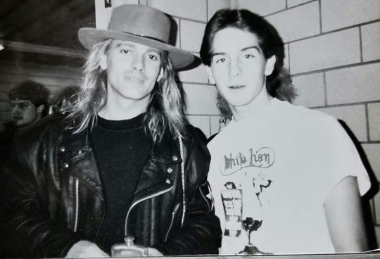 Brett Christensen, right, was a 17-year-old student at Green Bay Southwest High School in 1988 when he met Cheap Trick lead singer Robin Zander backstage at Brown County Veterans Memorial Arena, thanks to backstage passes from his teacher, Roxann Nys. On Saturday, he returned the favor by hooking Nys up with passes to meet the band at the Resch Center.