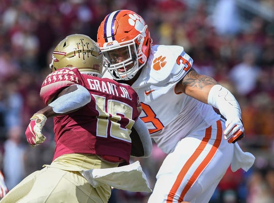 Clemson defensive lineman Xavier Thomas (3) bears down on Florida State running back Anthony Grant (10) during the 1st quarter Saturday, October 27, 2018 at Florida State's Doak Campbell Stadium in Tallahassee, Fl.