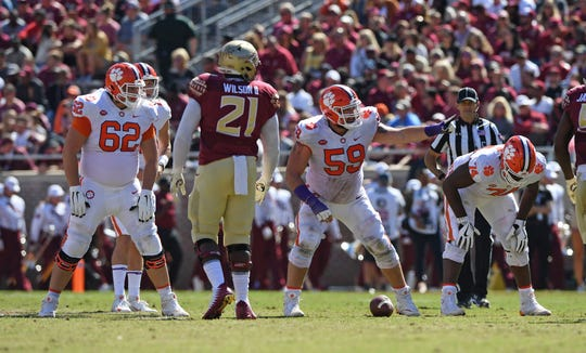 Clemson offensive lineman Cade Stewart (62), offensive lineman Gage Cervenka (59) and offensive guard John Simpson (74) play against Florida State during the 2nd quarter Saturday, October 27, 2018 at Florida State's Doak Campbell Stadium in Tallahassee, Fl.