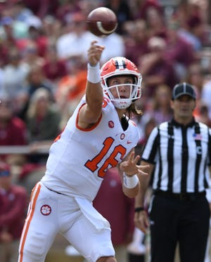 Clemson quarterback Trevor Lawrence (16) passes against Florida State during the 2nd quarter Saturday, October 27, 2018 at Florida State's Doak Campbell Stadium in Tallahassee, Fl.