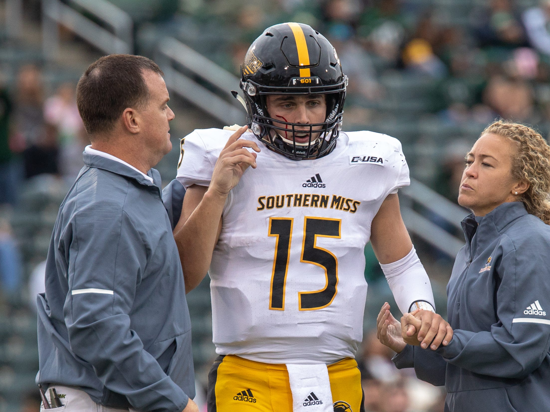 Southern Miss QB Jack Abraham was knocked out of the game early in the 4th quarter. Charlotte 49ers vs Southern Miss football, Saturday October 27th, 2018