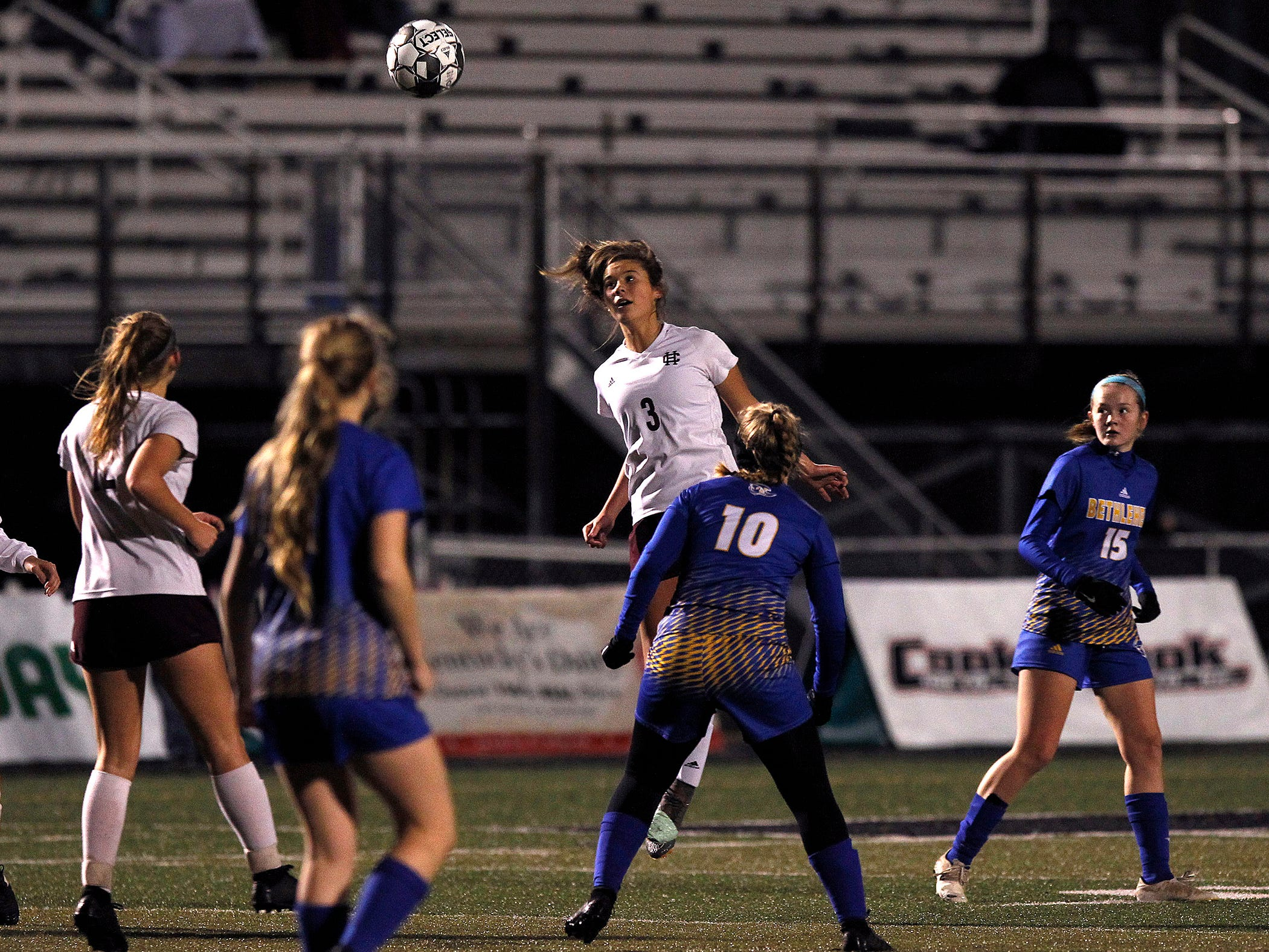 Henderson County's Maggie Sauer header gainst Bethlehem in the KHSAA state quarterfinals at Paul Laurence Dunbar in Lexington, Ky., Saturday night.