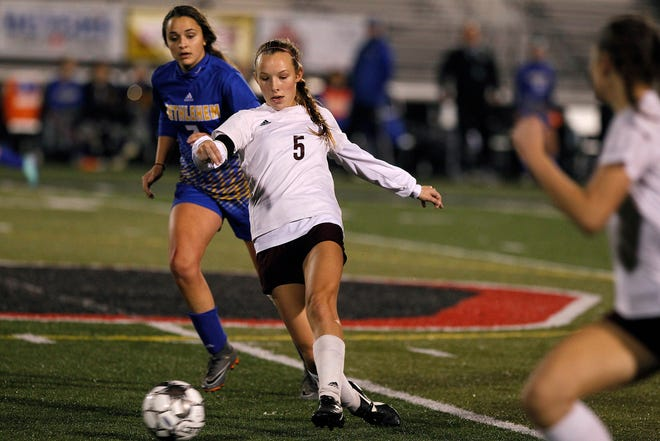 Henderson County's Maddie Griggs shoots on goal against Bethlehem in the KHSAA state quarterfinals at Paul Laurence Dunbar in Lexington, Ky., Saturday night.