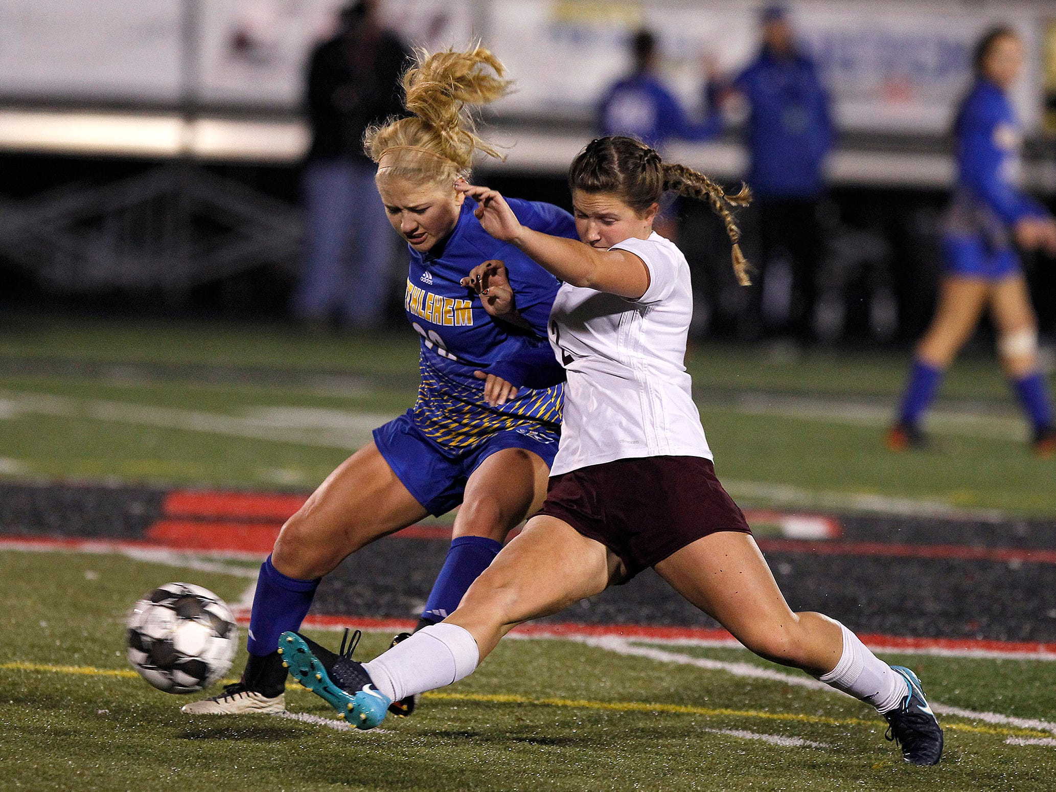 Henderson County's Maddie Tompkins defends against Bethlehem in the KHSAA state quarterfinals at Paul Laurence Dunbar in Lexington, Ky., Saturday night.